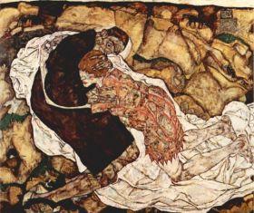 Śmierć i kobieta - Egon Schiele - reprodukcja
