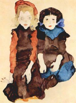 Dziewczynki - Egon Schiele - reprodukcja