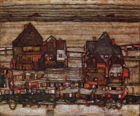 Domy z liniami do prania i podmiejskimi - Egon Schiele - reprodukcja