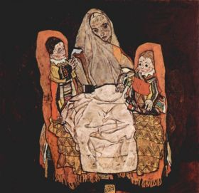 Rodzic z dwójką dzieci (Matka) - Egon Schiele - reprodukcja