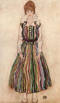 Portret Edith Schiele w sukience w paski - Egon Schiele - reprodukcja