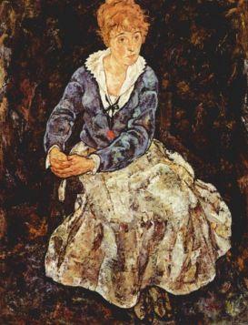 Portret siedzącej Edith Schiele - Egon Schiele - reprodukcja