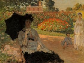 Camille in the garden with Jean and his nanny by Monet