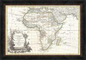 Stara mapa Afryki w ramie drewnianej
