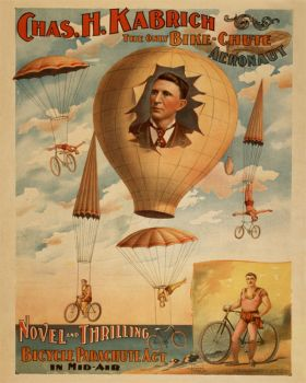 Poster - Rower - 1886 - Chas. H. Kabrich, the only bike-chute aeronaut