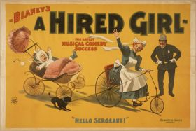 Poster Blaney's, A hired girl his latest musical comedy success, 1898