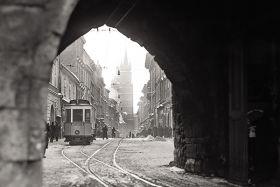 Tramwaj na ul. Floriańskiej - fotografia vintage
