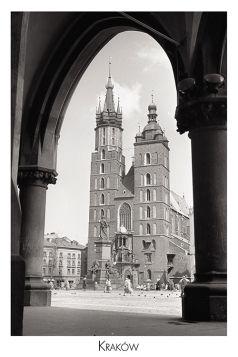 Kartka pocztowa – widok na Kościół Mariacki z Sukiennic