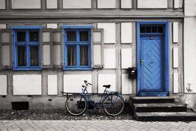Kartka pocztowa – Amsterdam, niebieski rower