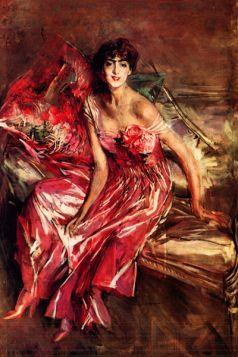 Pani w czerwonym - Giovanni Boldini - reprodukcja