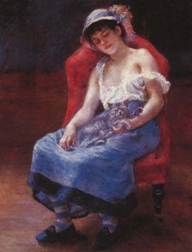 Śpiąca dziewczyna - Pierre Auguste Renoir - reprodukcja