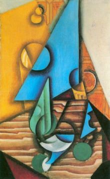 Juan Gris Bottle and glass on a table