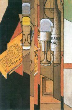 Juan Gris Glasses, newspaper and wine bottle