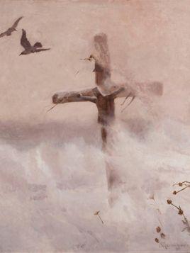 Józef Chełmoński – Krzyż w zadymce