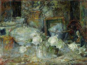 Olga Boznańska – martwa natura z białymi różami i japońską laleczką