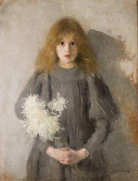 Dziewczynka z chryzantemami Olga Boznańska – reprodukcja