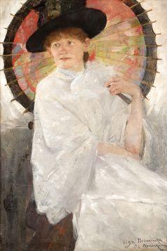 Olga Boznańska – portret młodej kobiety z czerwoną parasolką