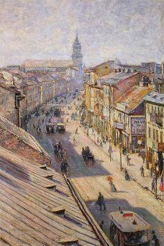Ulica Nowy Świat w Warszawie w dzień letni Władysław Podkowiński - reprodukcja