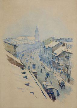Władysław Podkowiński – Ulica Nowy Świat w Warszawie w dzień zimowy