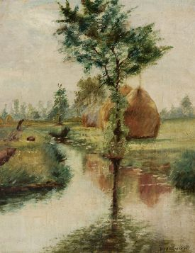 Władysław Podkowiński – Stogi nad strumieniem