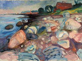 Wybrzeże z czerwonym domem - Edvard Munch - reprodukcja