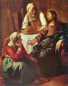 Chrystus w domu Marii i Marty Vermeer Jan - reprodukcja obrazu