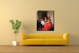 Dama i dwóch panów Vermeer / albo: Dziewczyna z kieliszkiem wina - reprodukcja obrazu