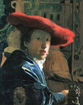 Dziewczyna w czerwonym kapeluszu Jan Vermeer - reprodukcja obrazu