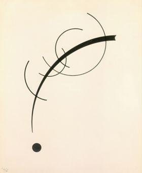 Dowolna krzywa do punktu 110x90 - Wassily Kandinsky – reprodukcja