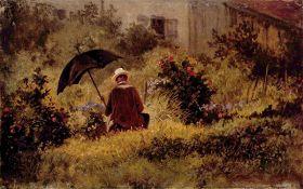 Malarz w ogrodzie - Carl Spitzweg - reprodukcja