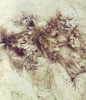 Groteskowe Głowy Leonardo da Vinci - reprodukcja