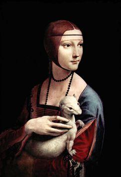 Pocztówka - Leonardo Da Vinci - Dama z łasiczką