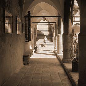 Chłopiec na schodach Uniwersytetu Jagiellońskiego, Collegium Maius