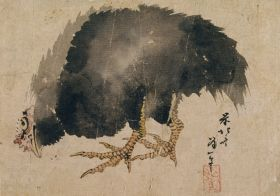 Album szkiców, czarna kura - Katsushika Hokusai - reprodukcja