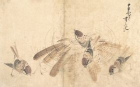 Wróble - Katsushika Hokusai - reprodukcja