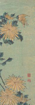 Żółte chryzantemy - Katsushika Hokusai - reprodukcja