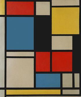 Kompozycja w kolorze czerwonym, niebieskim i żółtym - Piet Mondrian - reprodukcja