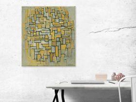Kompozycja w kolorze brązowym i szarym - Piet Mondrian - reprodukcja