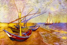 Łodzie rybackie na plaży w Saintes-Maries-de-la-Mer Vincent Van Gogh