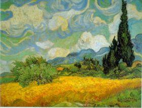 Pole pszenicy z cyprysami Vincent Van Gogh - reprodukcja