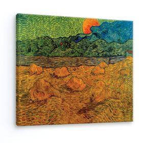 Pejzaż wieczorny ze wschodzącym księżycem - Vincent Van Gogh - reprodukcja