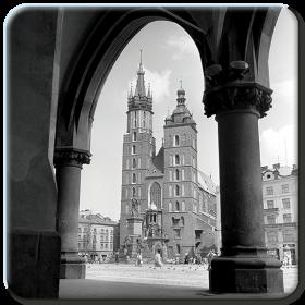 Podkładka - Widok na Kościół Mariacki z Sukiennic