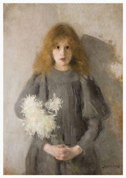 Kartka premium - Olga Boznańska - Dziewczynka z chryzantemami