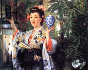 James Tissot  - A young woman holds Japanese goods