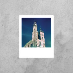 Kartka Polaroid - Kościół Mariacki nocą