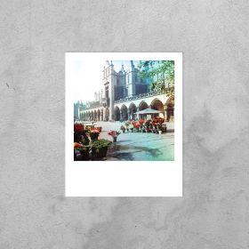 Kartka Polaroid - stragany z kwiatami