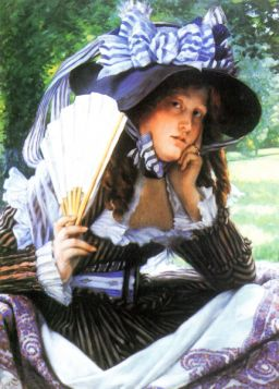 James Tissot  - A young woman with a fan