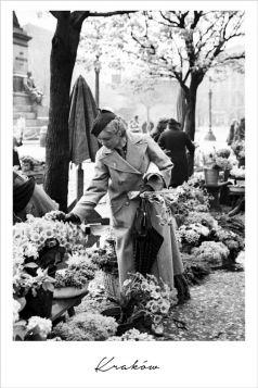 Kartka pocztowa – Pani z kwiatami na rynku