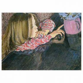 Helenka z wazonem i kwiatami - Stanisław Wyspiański - magnes