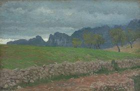 Pejzaż z okolic Rocca di Mezzo - Edward Okuń reprodukcja obrazu